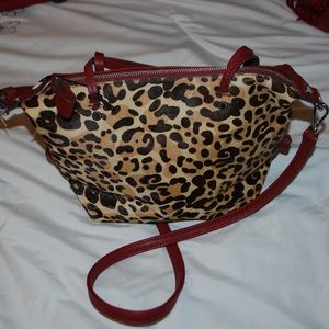 NWT Kate Laundry Maroon & Leopard Purse